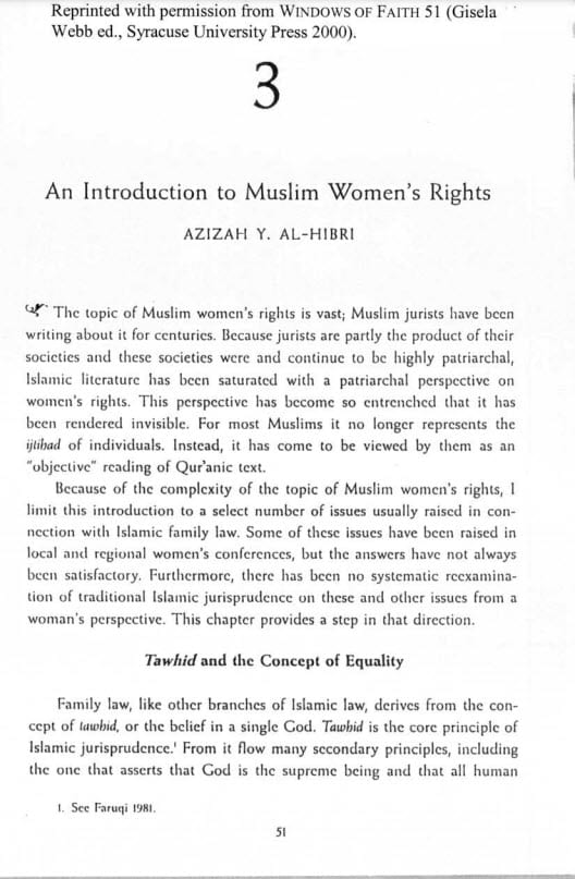 Introduction to Muslim Women's Rights